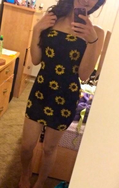 dress sunflower black short dress