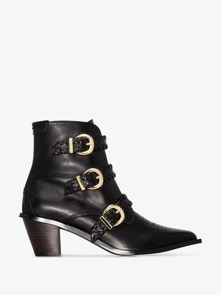 Reike Nen 60 Buckled Leather Ankle Boots in black