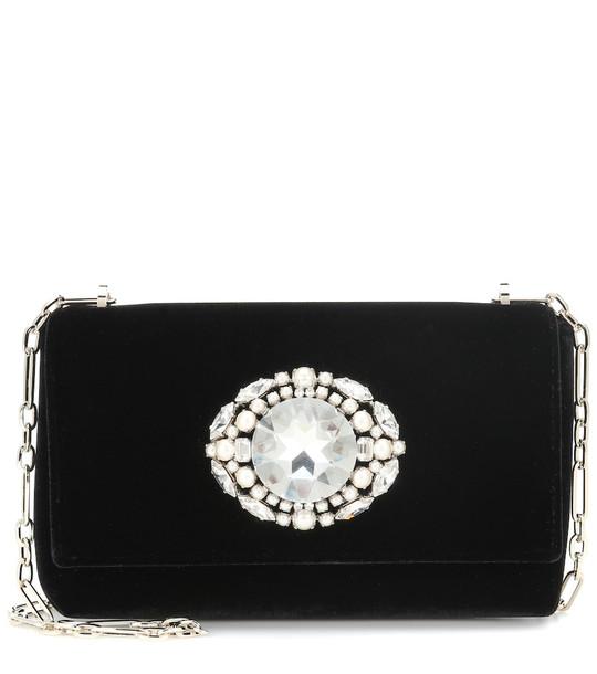 Jimmy Choo Thea embellished velvet clutch in black