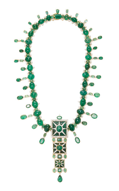 Tony Duquette One of a Kind 18K Yellow Gold and Emerald Necklace in green