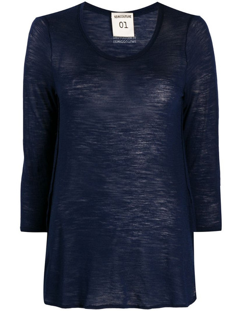 Semicouture round neck modal top in blue
