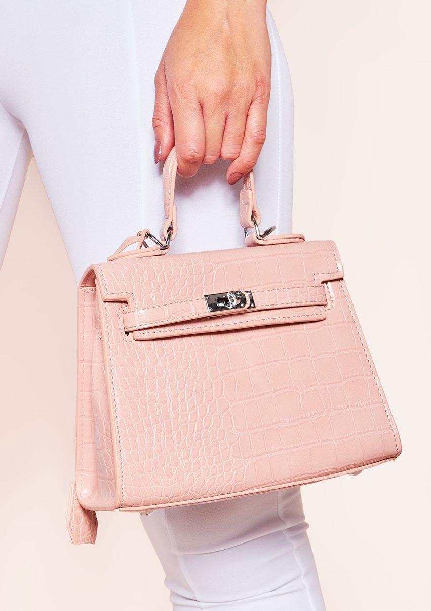 Vanessa Pink Croc Print Mini Bag