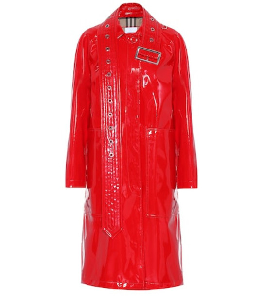 Burberry Laminated car coat in red