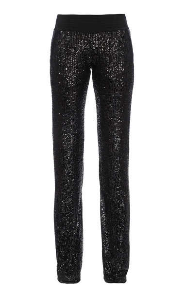 Balmain Sequined Knit Straight-Leg Pants in black