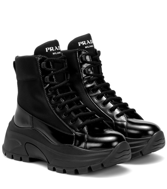 Prada Technical-twill ankle boots in black