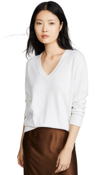 Vince Weekend Cashmere V Neck Sweater in white