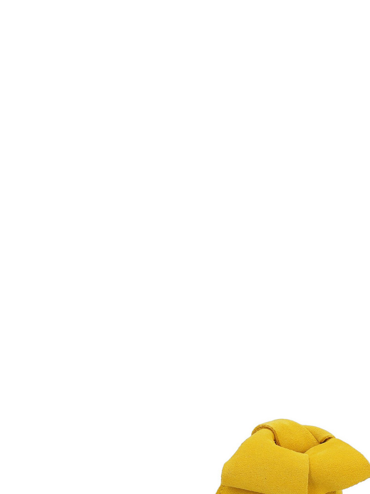 Manebi Hamptons Suede Slides With Bow in yellow