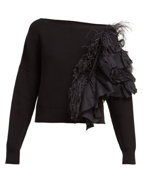 No. 21 - Feather And Ruffle Trimmed Sweater - Womens - Black