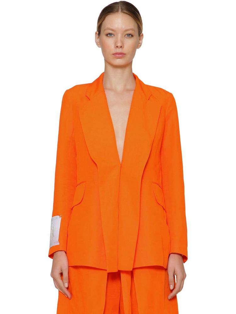 AALTO Double Paneled Linen Blend Blazer in orange