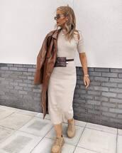 dress,knitted dress,bodycon dress,midi dress,platform shoes,belt bag,trench coat,vinyl,brown coat