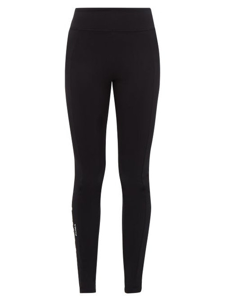 Fendi - Logo Print Technical Fleece Back Jersey Leggings - Womens - Black