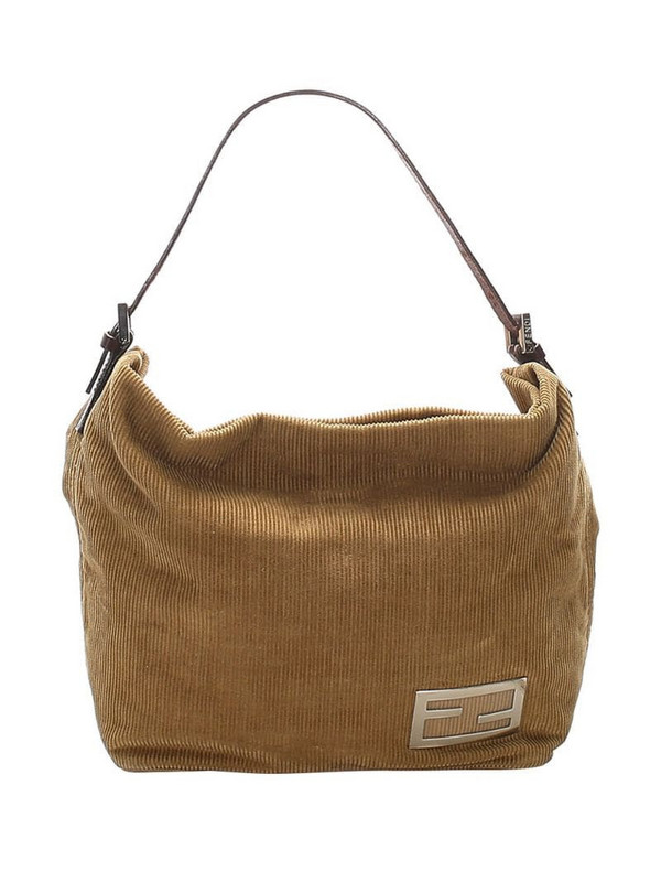 Fendi Pre-Owned FF plaque corduroy shoulder bag in brown