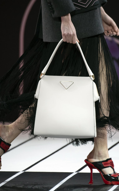 Prada Small City Calf Leather Tote in white