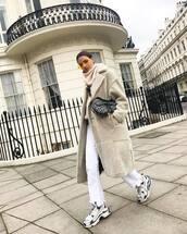 coat,faux fur coat,long coat,sneakers,white jeans,dior bag,crossbody bag,oversized turtleneck sweater