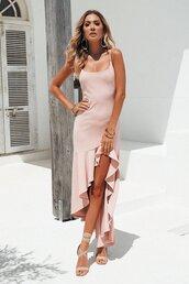 dress,blush,pink,midi dress,frill,prom dress