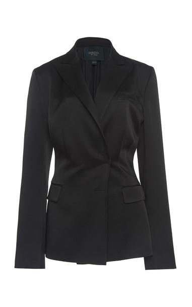 Giambattista Valli Silk Satin Blazer Size: 44 in black