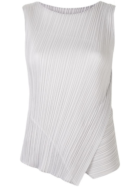 Pleats Please Issey Miyake pleated layered style top in grey