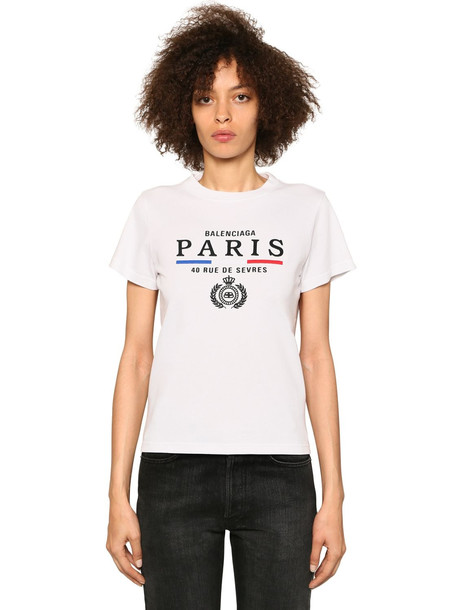 BALENCIAGA Paris Embroidery Cotton Jersey T-shirt in white