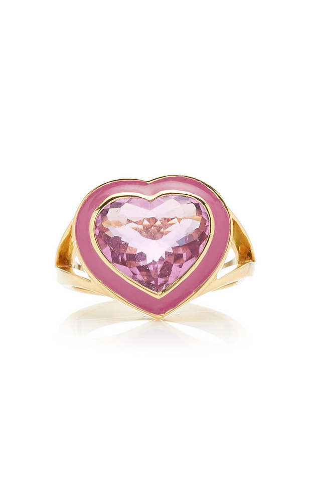 Yi Collection 18K Gold, Tourmaline And Enamel Ring Size: 6 in pink