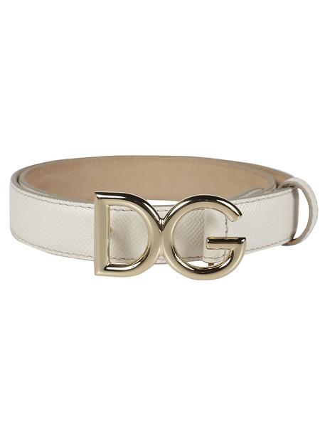 Dolce & Gabbana Logo Buckle Belt in white