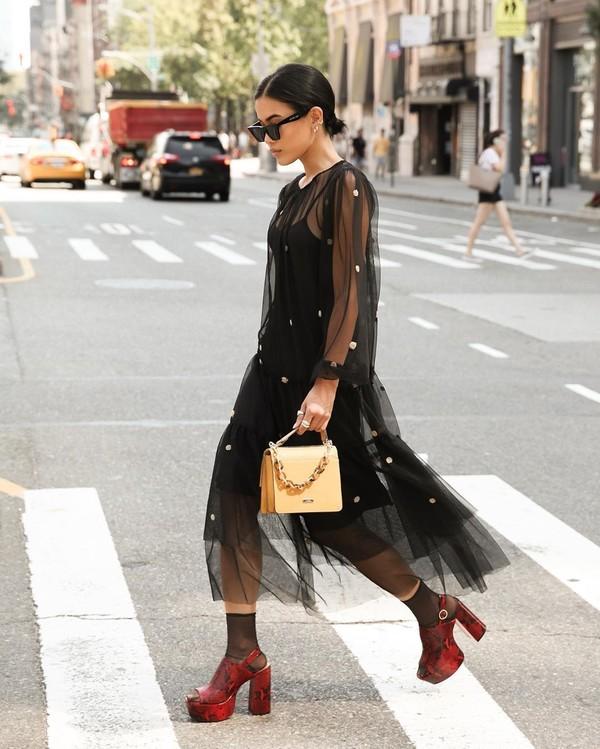 dress black dress mesh dress long sleeve dress socks platform sandals snake print bag