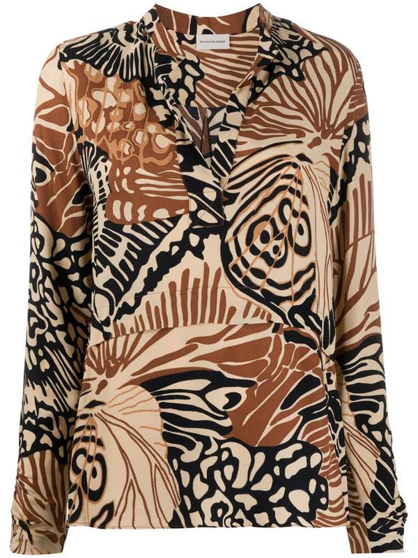 By Malene Birger abstract-print split-neck shirt in neutrals
