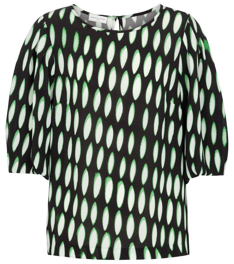 Dries Van Noten Printed stretch-crêpe blouse in black