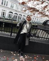 sweater,turtleneck sweater,white sweater,black sneakers,black pants,scarf,grey coat,plaid,black bag,crossbody bag,hijab,leather gloves