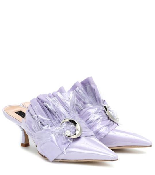 Midnight 00 Embellished PVC kitten heel mules in purple