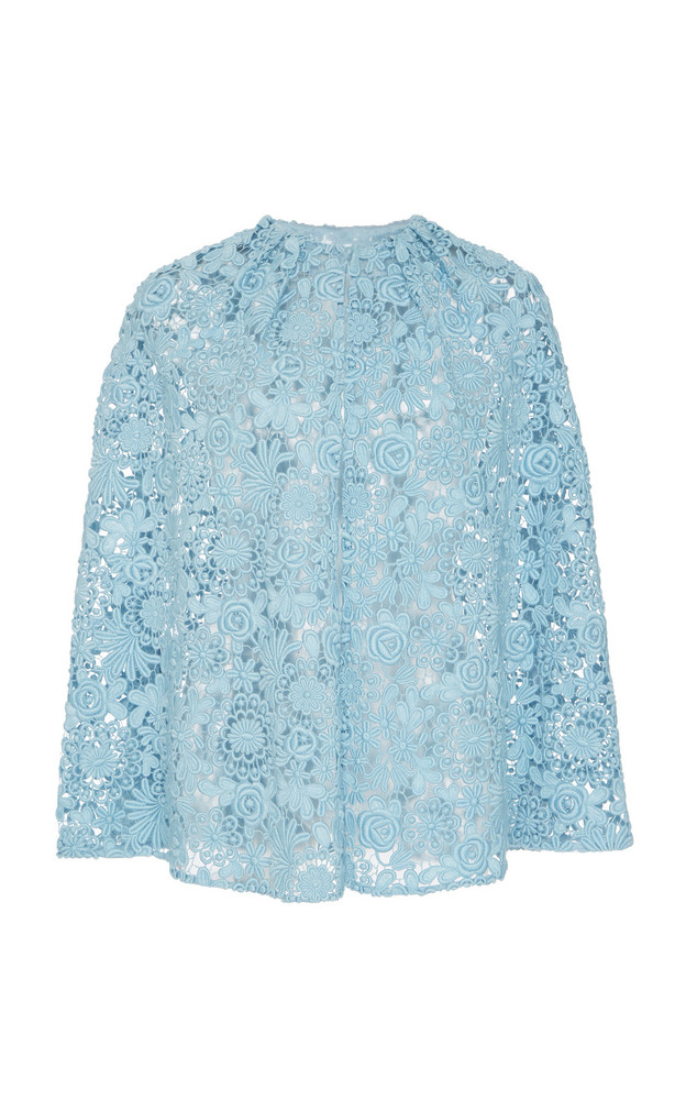 Prada Sheer Mini Cotton-Blend Cape Size: 44 in blue