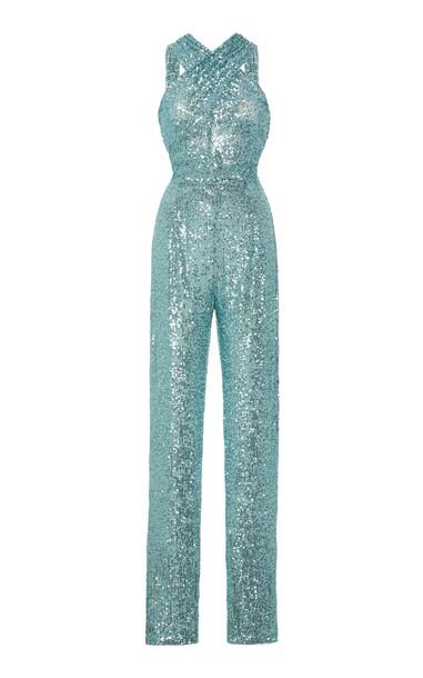 Naeem Khan Sequin-Embellished Halter Jumpsuit Size: 2 in blue