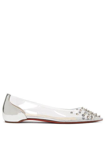 Christian Louboutin - Collaclou Spike Studded Pvc Flats - Womens - Silver