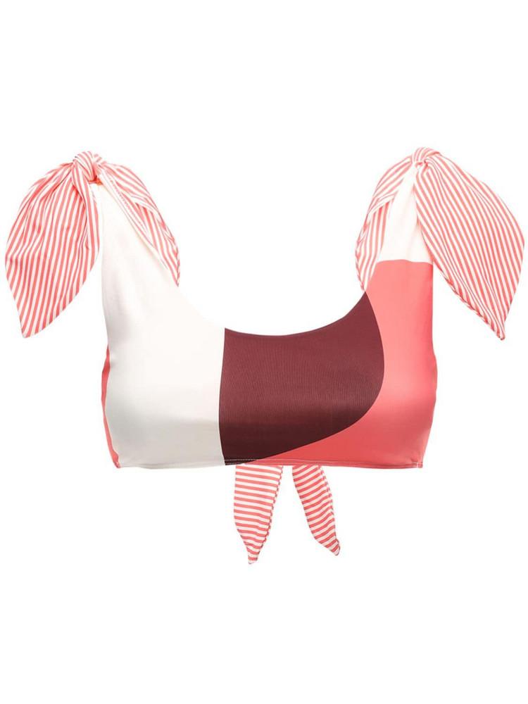 PAPER LONDON Ricki Baker Bikini Top in pink / multi