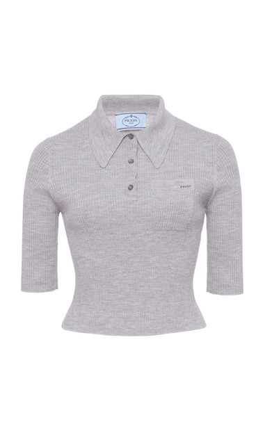 Prada Ribbed Cropped Polo Top in grey