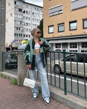 jeans,high waisted jeans,sneakers,oversized jacket,crop tops,white top,chanel bag