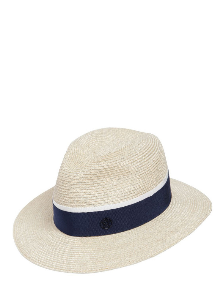 MAISON MICHEL Henrieta Sraw Hat in navy / natural