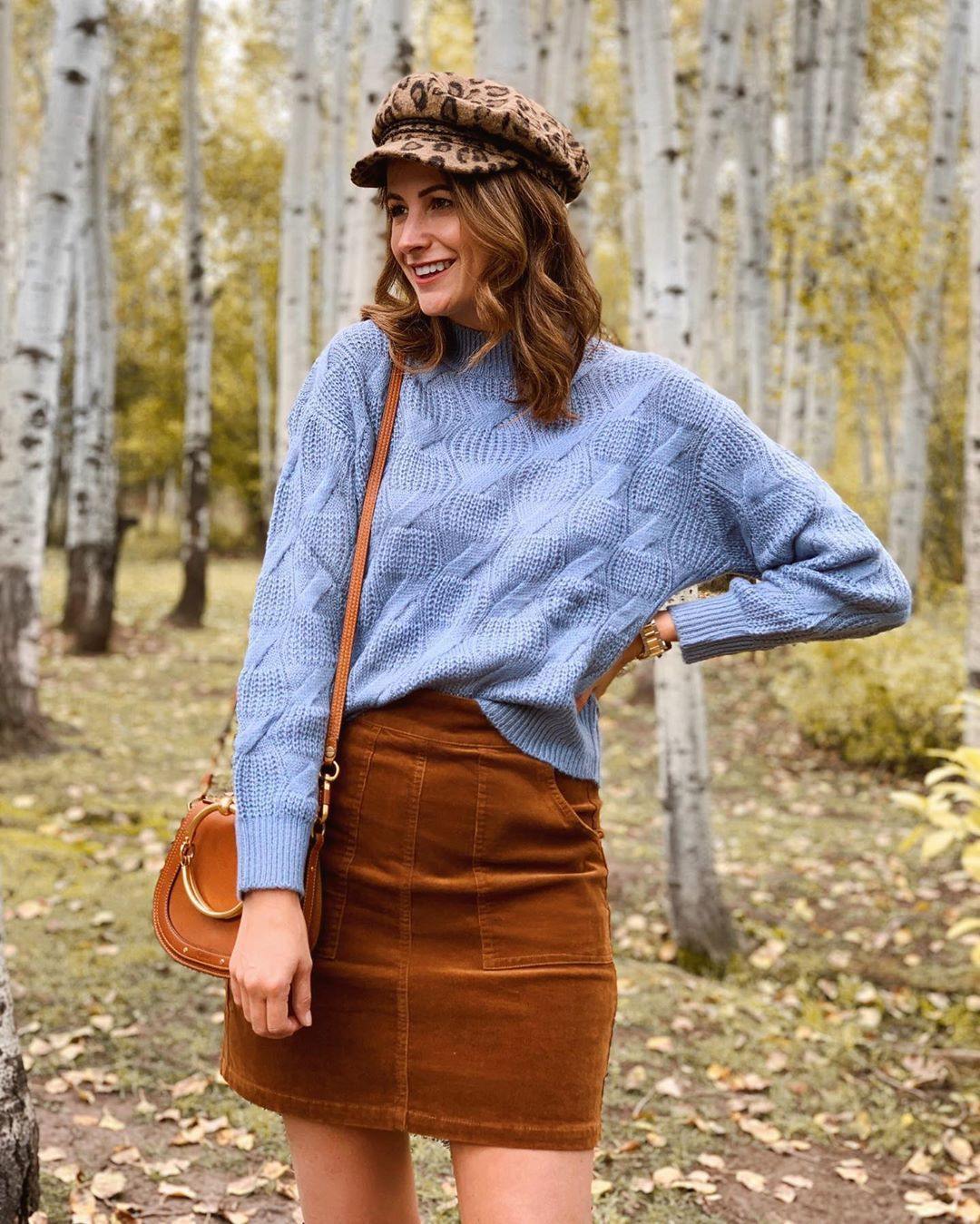 skirt mini skirt sweater cable knit brown bag