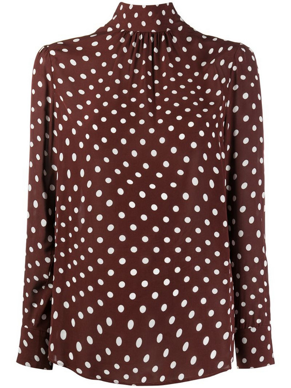 Alexa Chung Distorted polka-dot blouse in brown