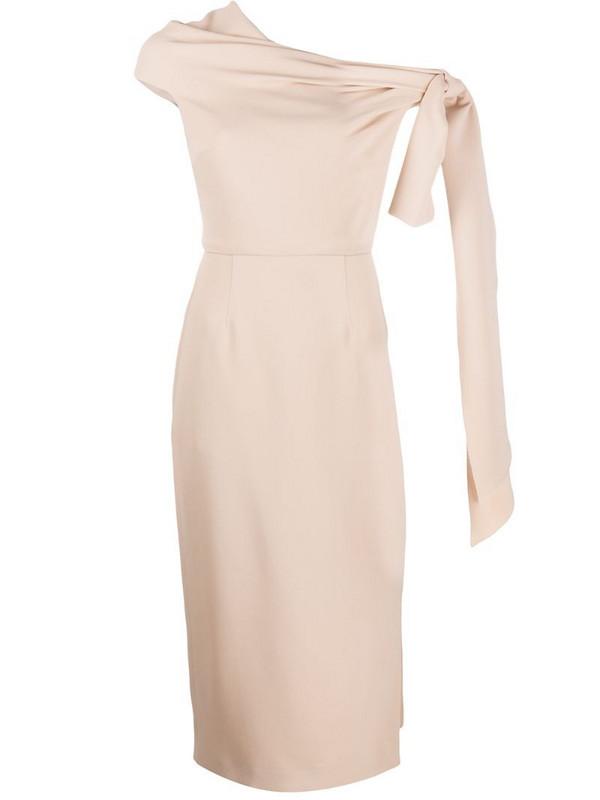 Roland Mouret Howe one shoulder dress in brown