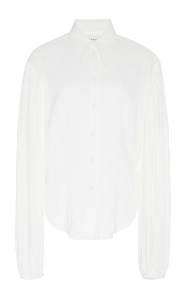 Khaite Octavia Linen-Blend Button-Up Top in white