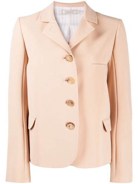 Nina Ricci single-breasted fitted jacket in neutrals