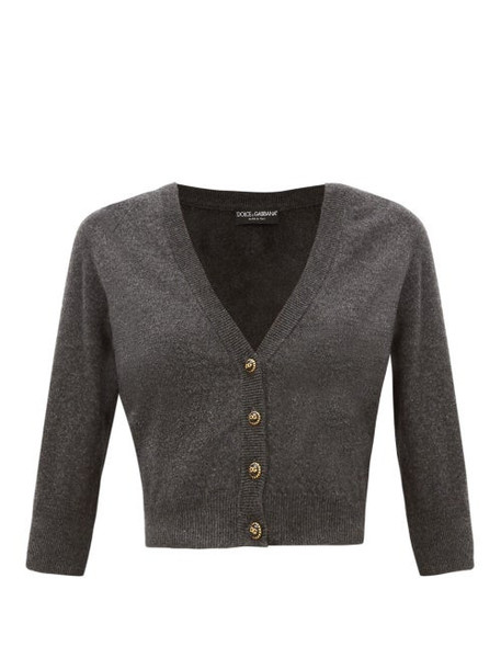 Dolce & Gabbana - Dg Button Cropped Cashmere Cardigan - Womens - Dark Grey
