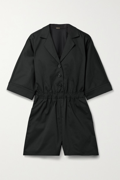 ADAM LIPPES - Cotton-blend Twill Playsuit - Black