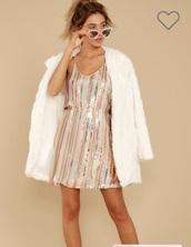 dress,rose gold striped sequin dress