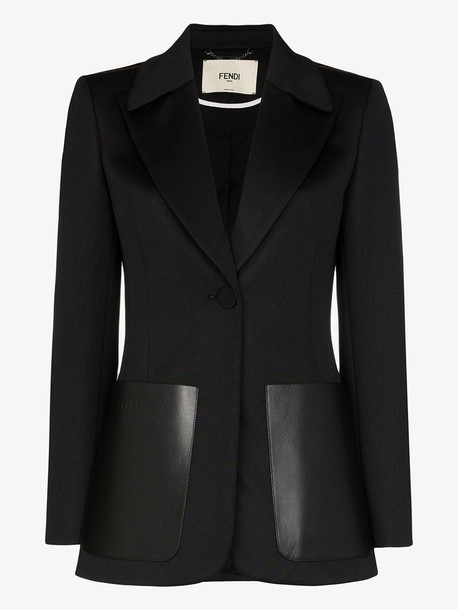 Fendi FF logo stripe blazer jacket in black