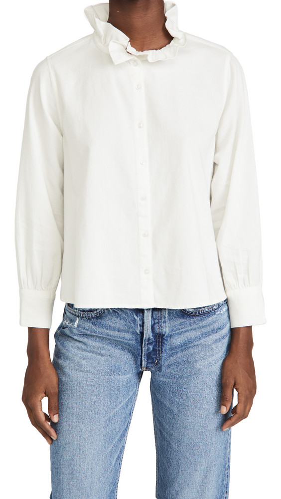 THE GREAT. THE GREAT. Venetian Button Up Blouse in white