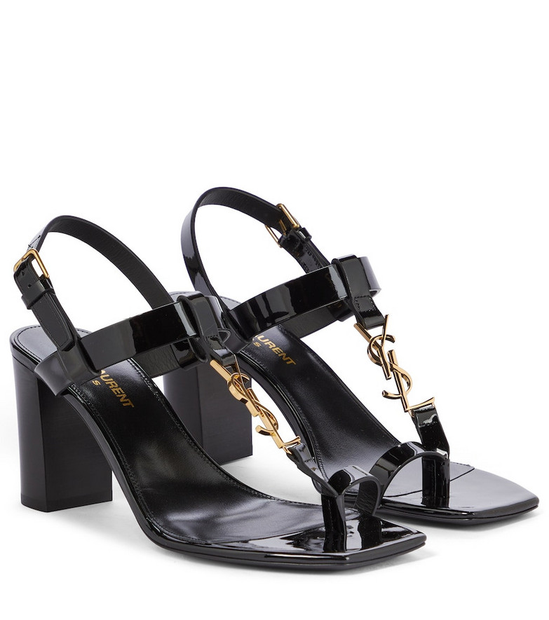 Saint Laurent Cassandra 75 patent leather sandals in black