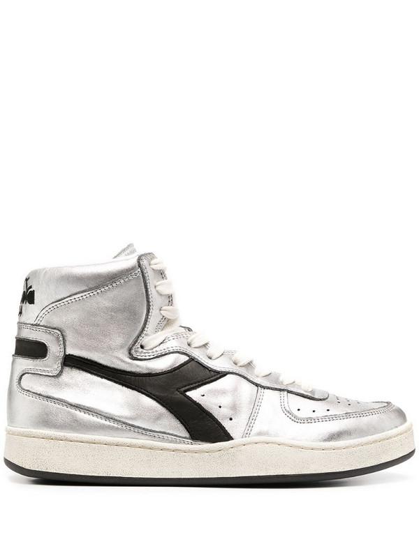 Diadora Basket hi-top sneakers in silver