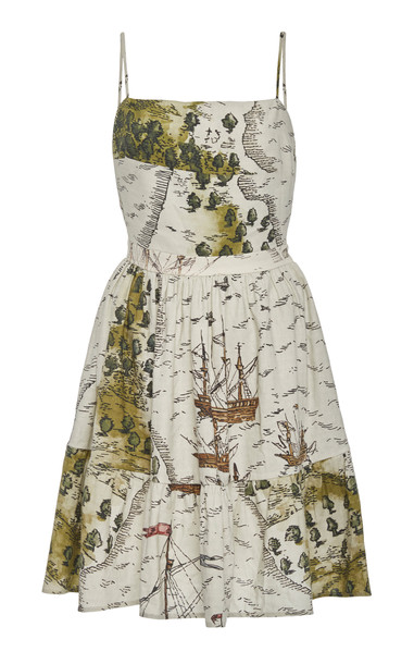 Andres Otalora Santo Domingo Printed Linen Mini Dress Size: 2 in neutral