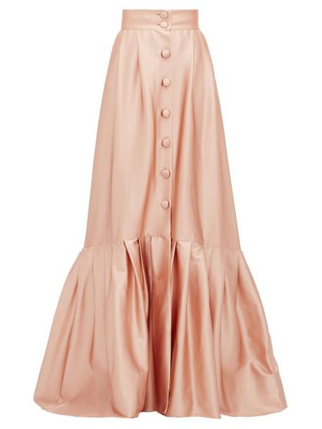 Luisa Beccaria - Pleated Hem Buttoned Satin Skirt - Womens - Light Pink